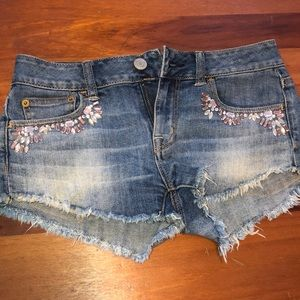 American eagle jean shorts with rinstones